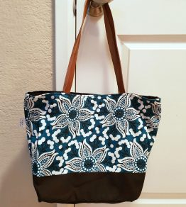 Puskar floral cotton tote with leather handles